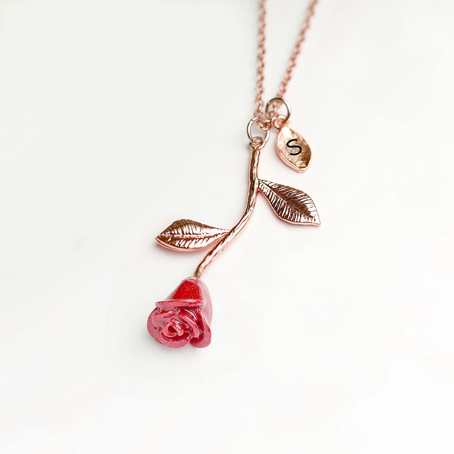 d3b8f34c401e Amazon.com  Rose Gold Rose Necklace Pendant Initial Necklace Beauty and the  Beast Jewelry for Women - 3ERN (S)  Handmade