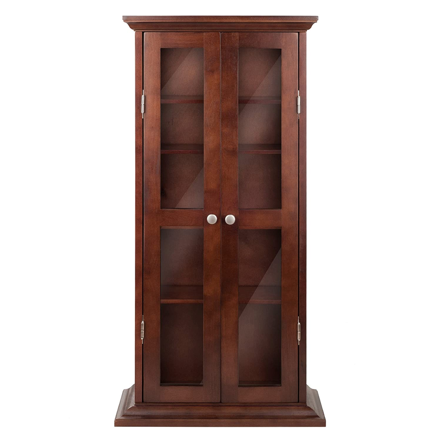 Cherry Wood Dvd Storage Cabinet Amazoncom Winsome Wood Cd Dvd Cabinet With Glass Doors Antique
