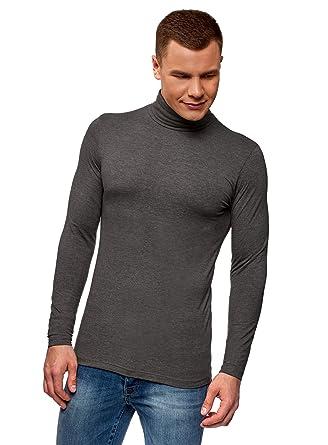 oodji Ultra Hombre Suéter de Cuello Alto Ajustado, Gris, ES 44 ...
