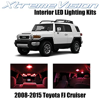 XtremeVision Interior LED for Toyota FJ Cruiser 2008-2015 (4 Pieces) Red Interior LED Kit + Installation Tool: Automotive