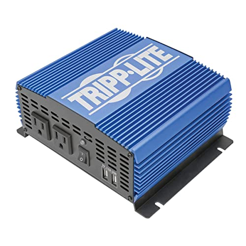 Tripp Lite 1500W Power Inverter, Medium-Duty Power Inverter with 2 AC 2 USB Outlets, 2.0A Battery Cables Pinv1500