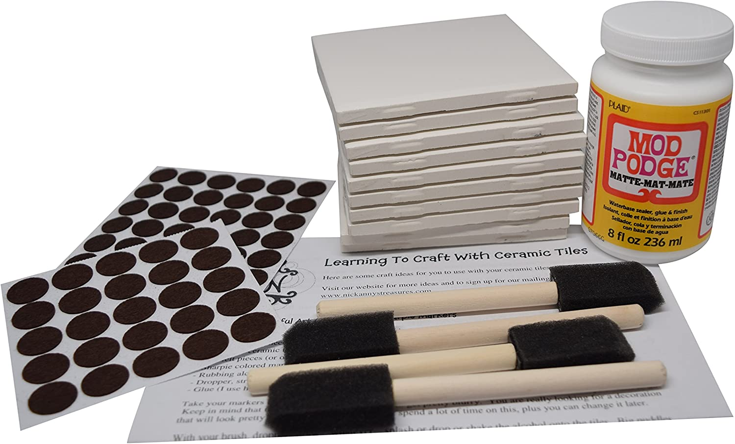 Annys Coaster Tile Kit Set Of 10 Glossy White Ceramic Tiles 4 By 4 Each Exclusive Guide For Tile Crafts Mod Podge 4 Sponge Craft Brushes And Felt Pads