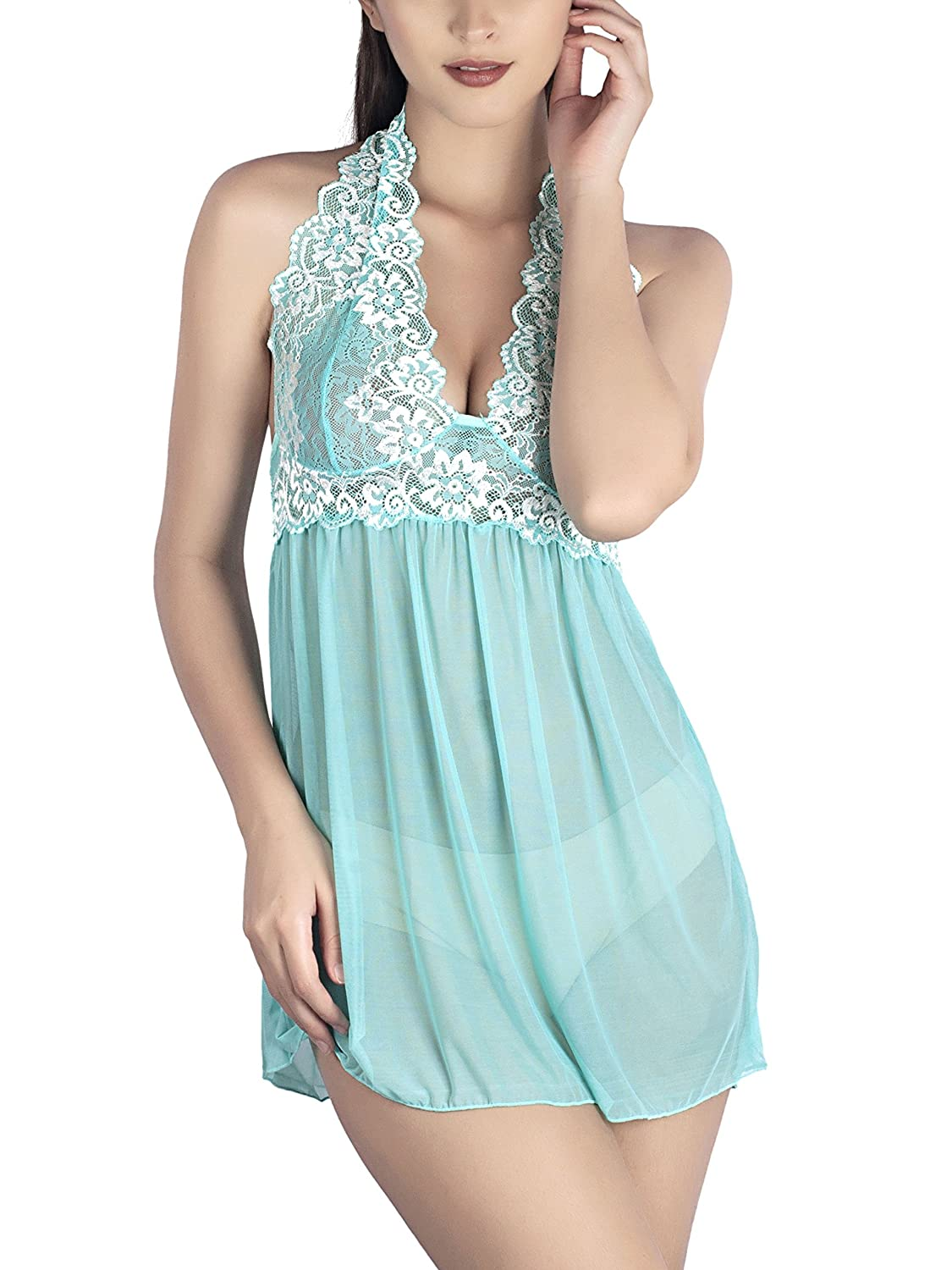b55ed28c1cf Halter Neck Embroidered Babydoll- Cyan  Amazon.in  Clothing   Accessories