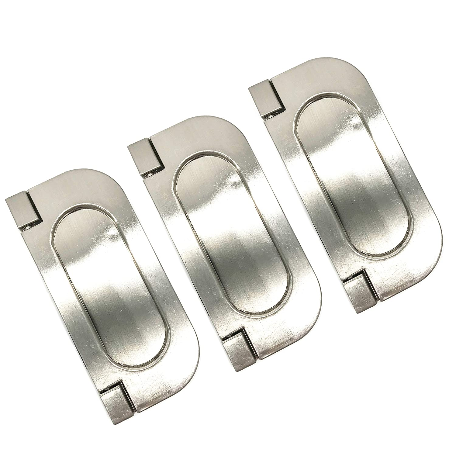 XMHF Recessed Type Furniture Wardrobe Drawer Pull Handle Silver Flat Cabinet Flush Ring Pull 3pcs