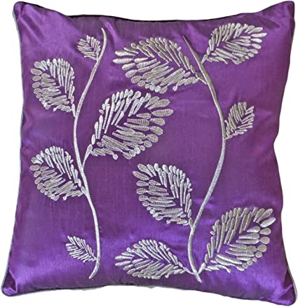 Amazon Com Decorative Silver Leaves Embroidery With Piping Floral