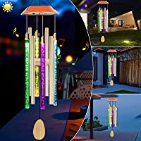 Solar Wind Chimes Changing Color, Waterproof LED Wind Chimes for Outside with 8 Tubes, Solar Powered Memorial Wind…