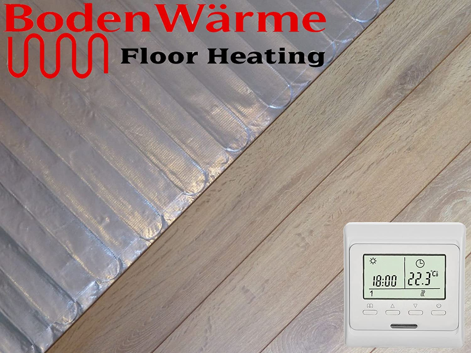 Electric Underfloor Heating kit 150w White Touch Thermostat 10.0m2