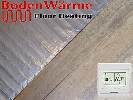 Superb Electric Under Laminate Wood Foil Underfloor Heating Mat Kit 5M Sq Digital Thermostat Download Free Architecture Designs Embacsunscenecom