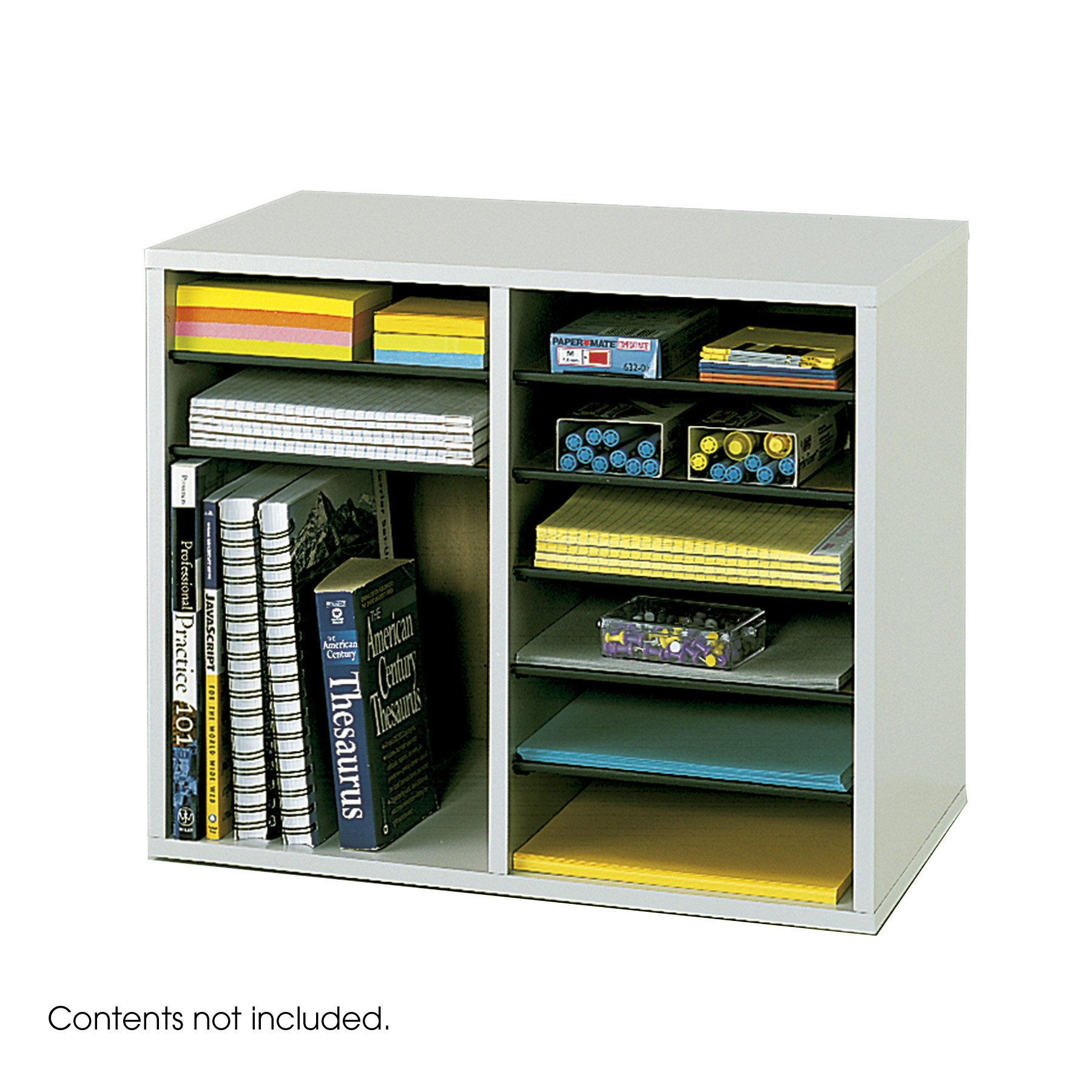 Safco Products Wood Adjustable Literature Organizer, 12 Compartment 9420GR, Gray, Durable Construction, Removable Shelves