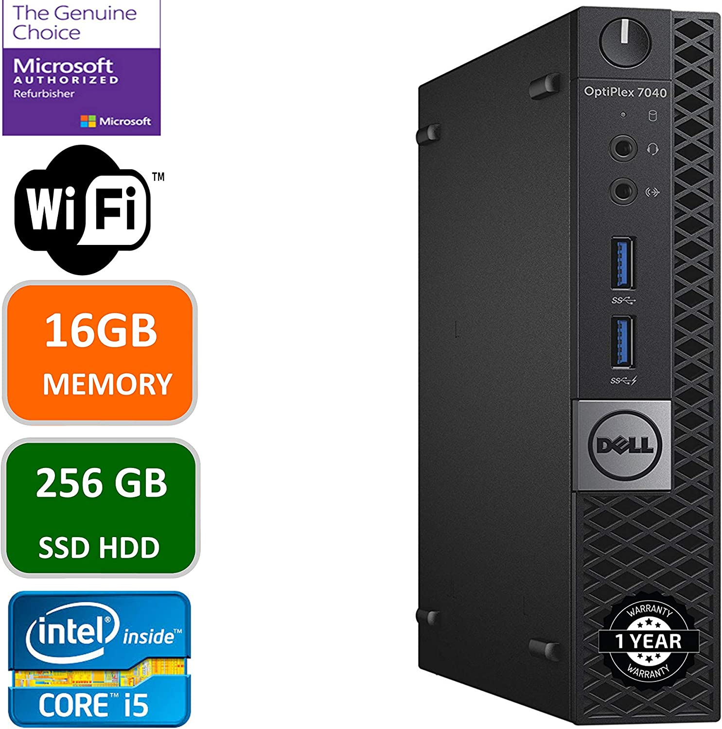DELL OPTIPLEX 7040 6th Gen Micro Business Desktop Computer, Intel Quad Core i5 6400T up to 2.8GHz, 16G DDR4, 256GB SSD, WiFi,HDMI, DP, Win 10 64-Bit Supports EN/ES/FR(CI5)(Renewed)