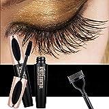 4D Fiber Lash Mascara by KASI - Waterproof Long Lasting Lashes Extensions Long Eyelashes Mascara with Free Eyelash Comb - Black