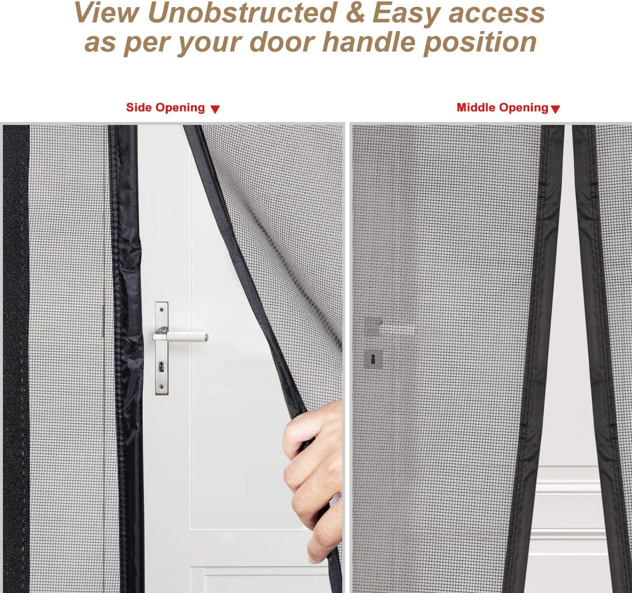 Top Middle Anti-Tearing Mosquito Net Curtain Left Right Side Opening Magnetic Screen Door 36 x 82