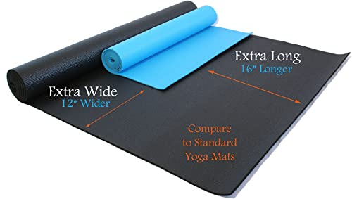 Rolling Sands 84 Inch by 36 Inch Extra Wide, Extra Long, Extra Thick Black Yoga Pilates Mat