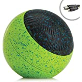 GOgroove Portable Bluetooth Speaker with AUX Input , Rechargable 16+ Hour Battery , Stereo Sound - Built-In Microphone , On Board Controls for Calls / Track Selection (Galactic Green)