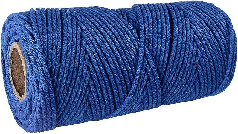 SUNTQ Cordón de macramé Algodón de poliéster trenzado de 4 hilos 3mm x 100m Cuerda de algodón suave para colgar plantas artesanales Colgar artesanías, decoración de tejer, hilo de algodón azul real: