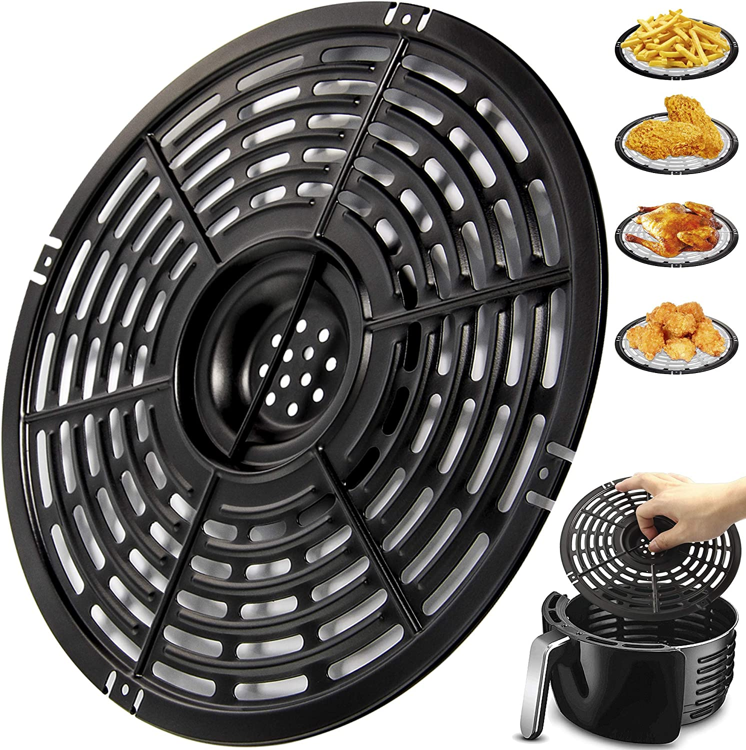 Air Fryer Replacement Grill Pan For Power Gowise 5QT Air Fryers, Crisper Pan, Air Fryer Accessories, Non-Stick Air Fryer Pan, Dishwasher Safe