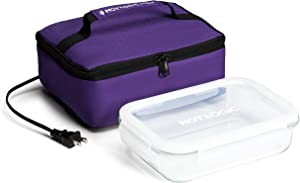 HotLogic 16801155-PUR Food Warming Tote Lunch Bag 120V with Glass Dish, Purple