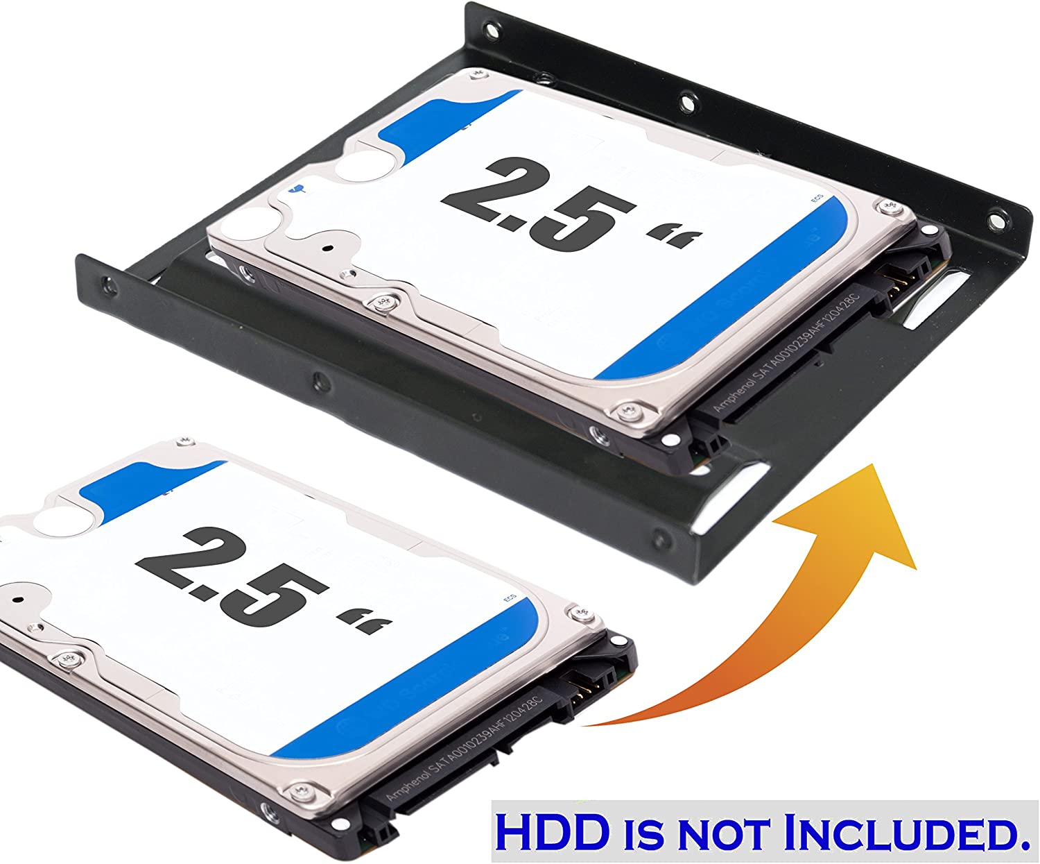 Homswitch Red Plastic 2.5 to 3.5 Adapter Bracket 2.5 SSD HDD Notebook Mounting Tray Pack of 5