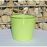 Blumentopf grün Pflanztopf Übertopf Metall mit 2 Griffen 50058