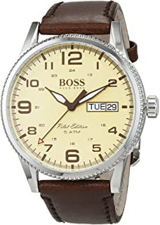 Hugo Boss Pilot Vintage 1513332 Brown / Parchment Cream Leather Analog Quartz Mens Watch