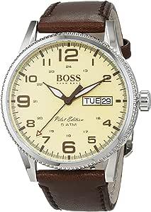 Hugo Boss Pilot Vintage 1513332 Brown / Parchment Cream Leather Analog Quartz Men's Watch