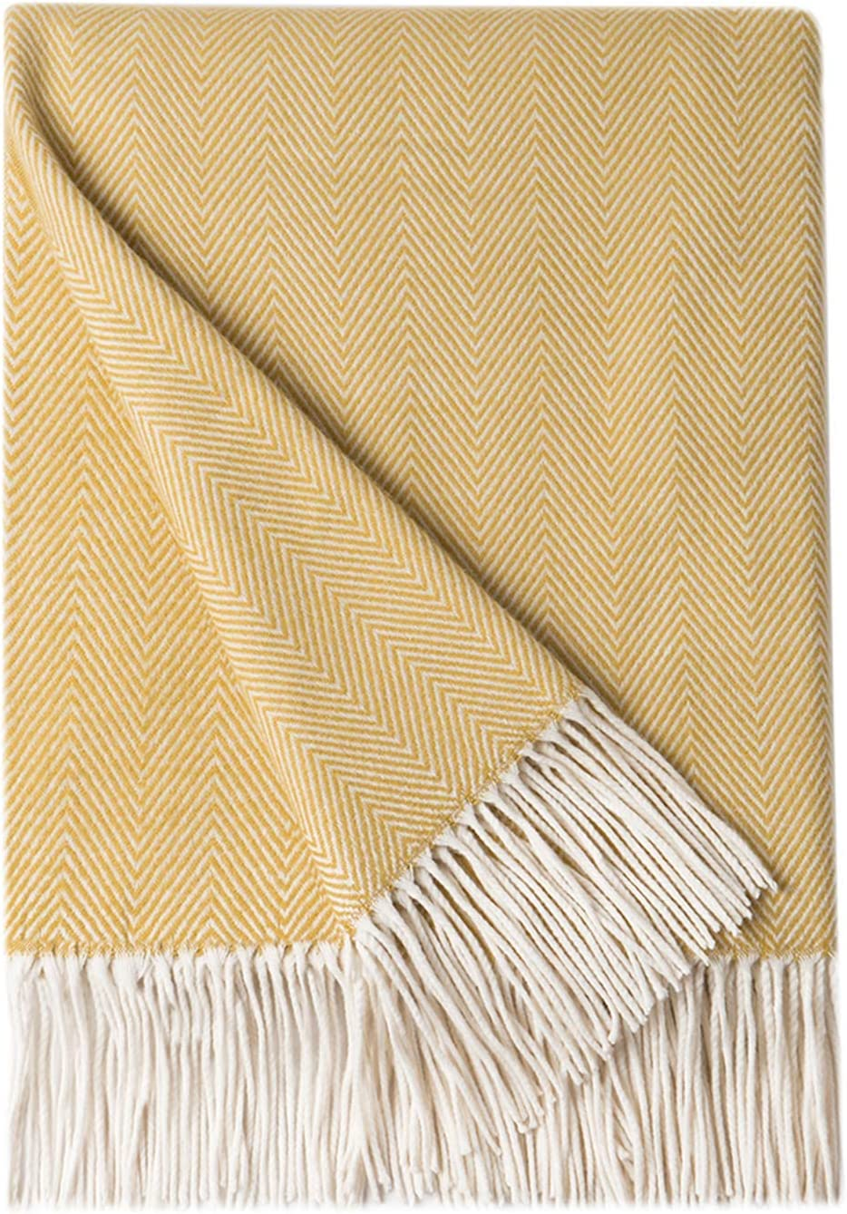 "BOURINA Decorative Herringbone Faux Cashmere Fringe Throw Blanket Lightweight Soft Cozy for Bed or Sofa Farmhouse Outdoor Throw Blankets, 50"" x 60"", Yellow"