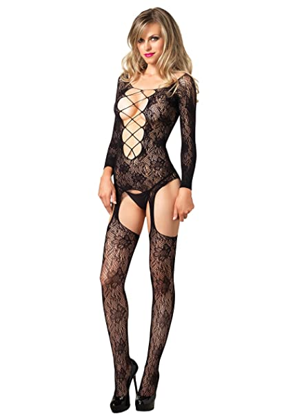 73cfc287a5 Amazon.com  Leg Avenue Floral Lace Suspender Bodystocking  Clothing
