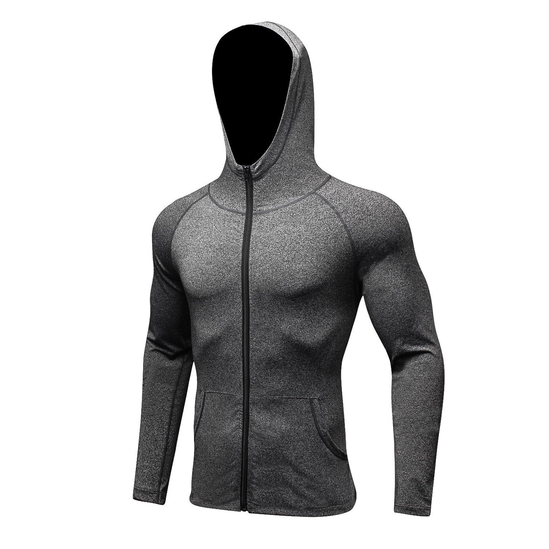 RoxZoom Men's Sports Training Hooded Coat, Quick Dry Long Sleeve Workout Athletic Hoodie Jacket - Gray, Medium