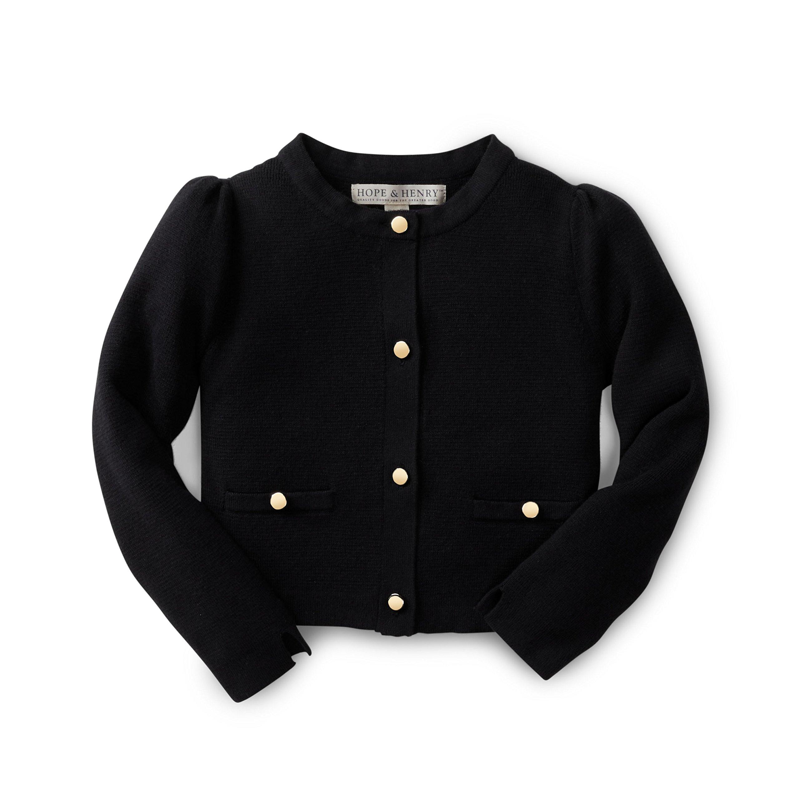 Hope & Henry Girls' Black Full Milano Sweater Jacket Made with Organic Cotton