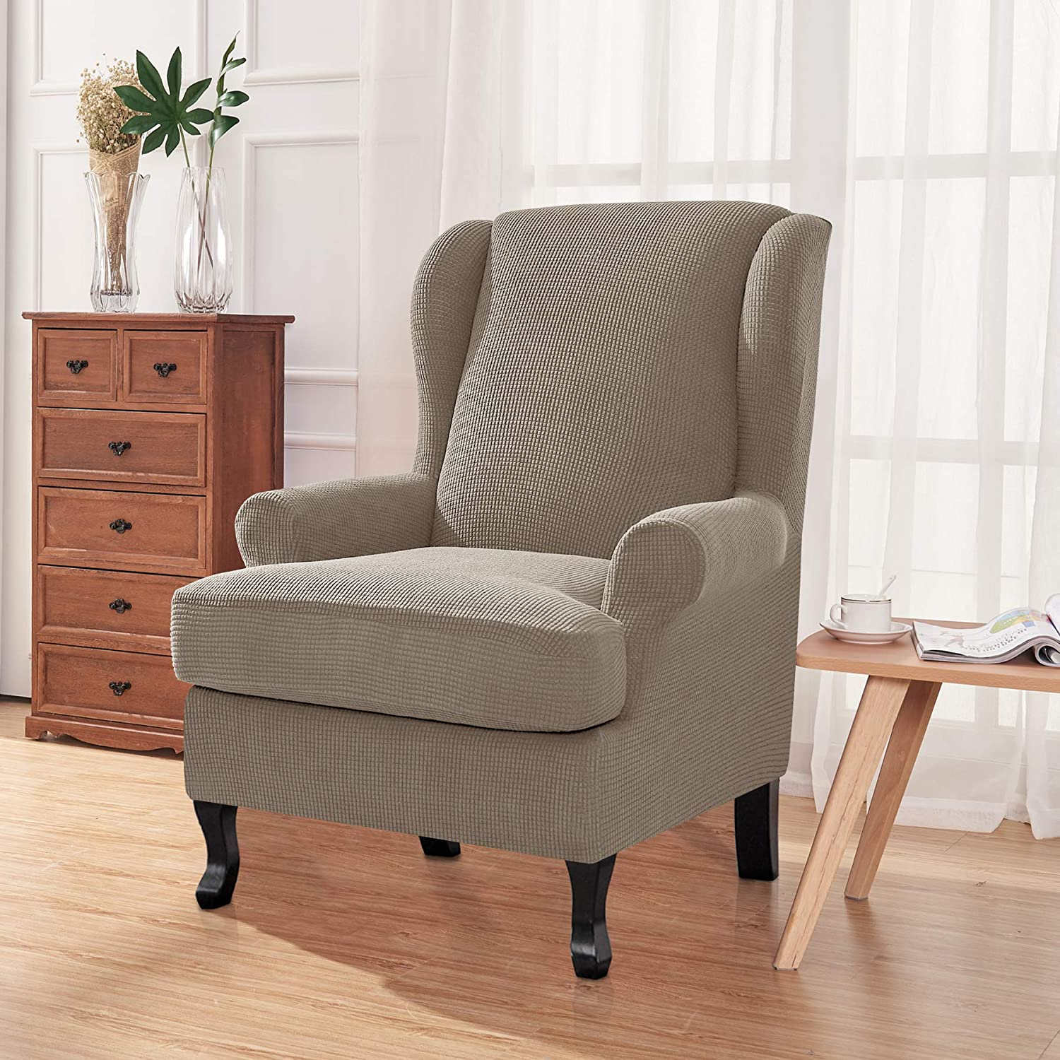 CHUN YI 2-Piece Stretch Jacquard Spandex Fabric Wing Back Wingback Armchair Chair Slipcovers Ivory White, Wing Chair