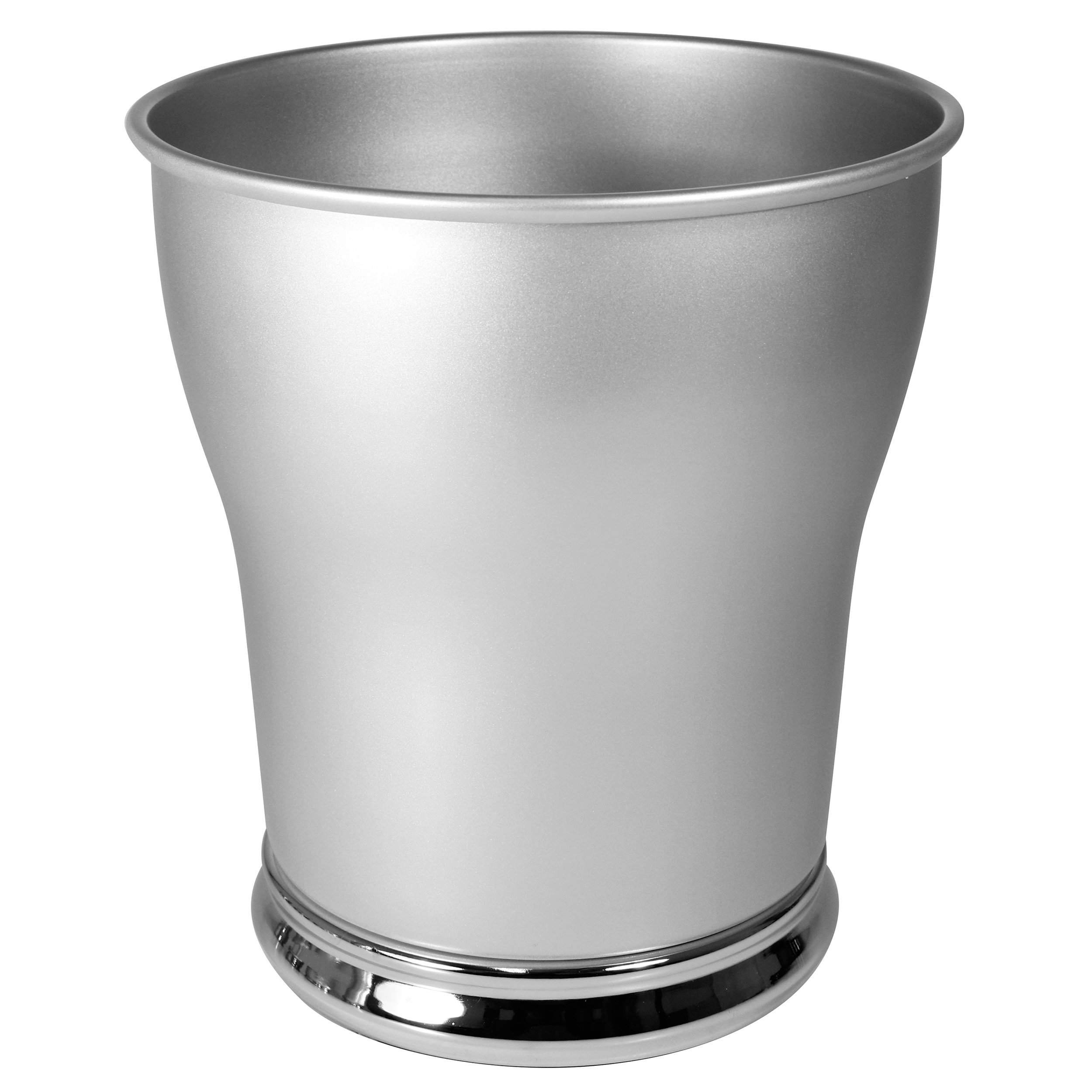 mDesign Decorative Round Small Trash Can Wastebasket, Garbage Container Bin for Bathrooms, Powder Rooms, Kitchens, Home Offices - Durable Steel with Pearl Silver Body and Chrome Base