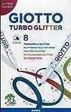 Giotto - Pochette de 8 feutres Turbo Glitter - Feutres aux couleurs pailletées