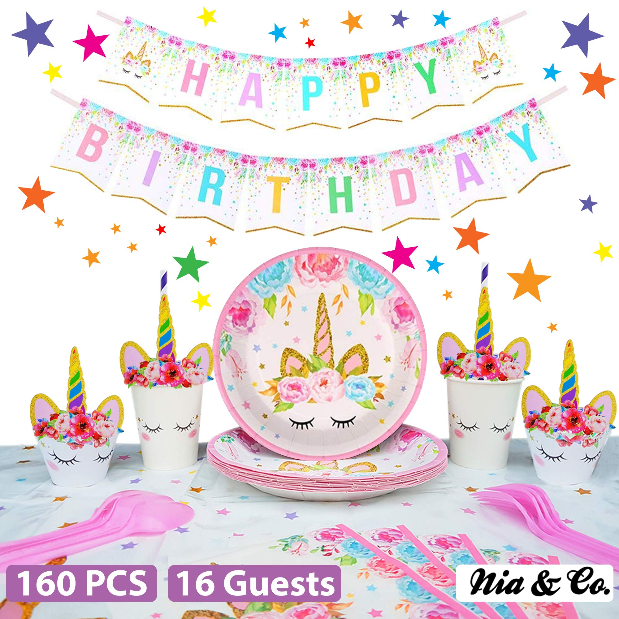 Unicorn Party Supplies Set - Birthday Decorations for Girls - Serves 16 - Magical Plates, Rainbow Straws, Cups, Banner, Cupcake Topper, Wrappers & Tableware kit - Pink items for Kids 1st Party Favors