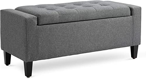 HOMCOM Linen Storage Ottoman Bench Storage Chest Tufted Ottoman Cube with Flipping Top Grey