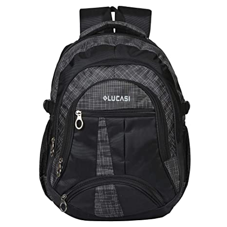 568e5e20431416 Lucasi Pyramid Black School Bag Backpack 4 + 2 Compartments 30 Liters   Amazon.in  Bags