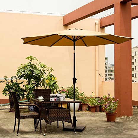 ollieroo patio umbrella tilt beige aluminum 9ft outdoor market umbrella with crank 8 steel ribs and - Amazon Patio Umbrella