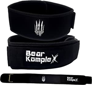 "Bear KompleX 4"" Straight Weightlifting Belt for at-Home Powerlifting, Squats, Weight Training and More. Low Profile with Super Firm Back for Maximum Stability & Exceptional Comfort"