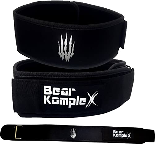 Bear KompleX 4 Straight Weightlifting Belt for Powerlifting, Squats, Weight Training and More. Low Profile with Super Firm Back for Maximum Stability Exceptional Comfort.