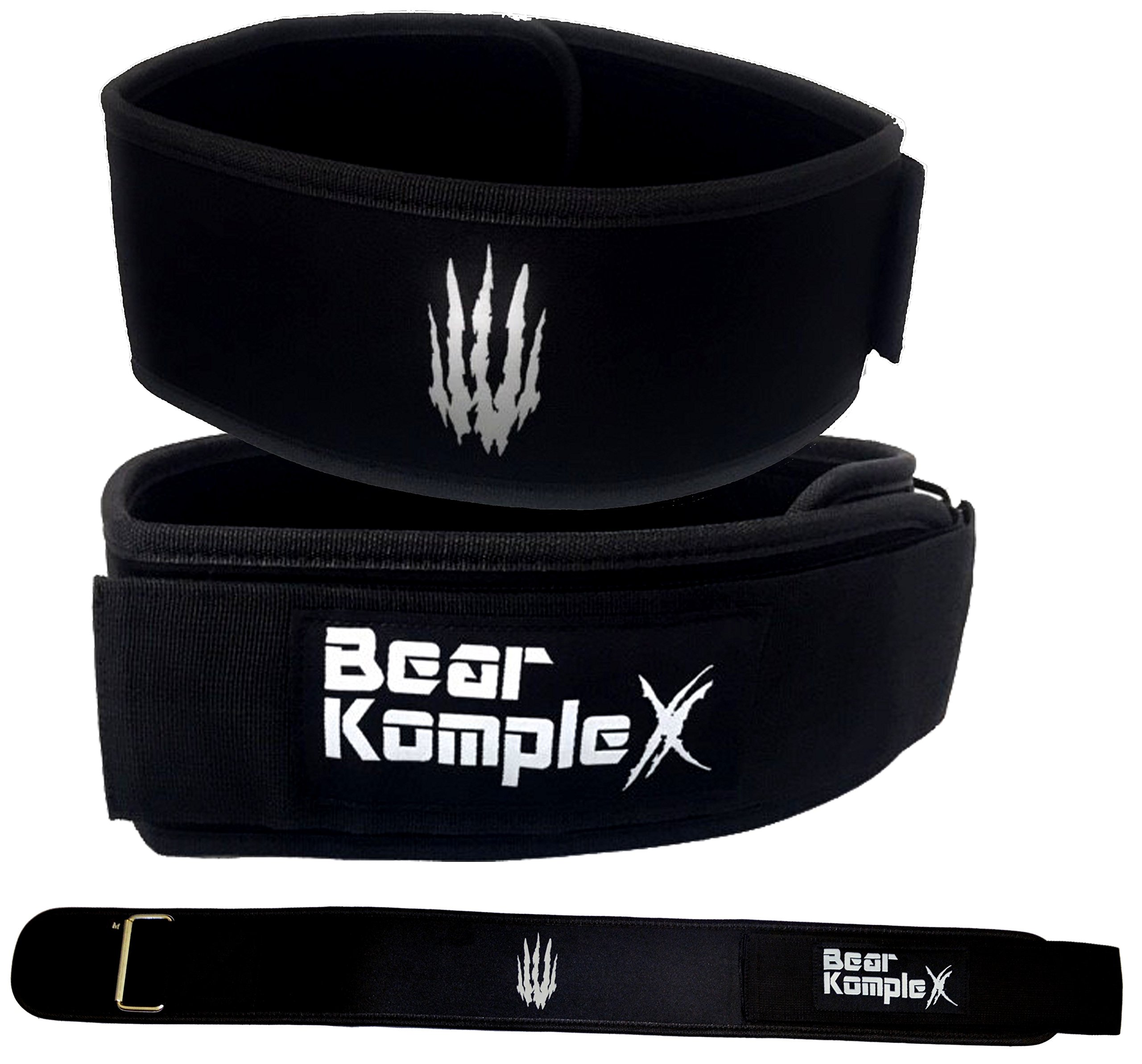 Bear KompleX 4'' Straight Weightlifting Belt for Powerlifting, Squats, Weight Training and More. Low Profile with Super Firm Back for Maximum Stability & Exceptional Comfort. Straight Black XS