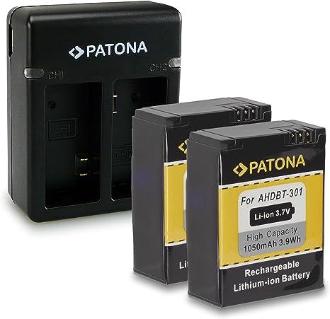 Cargador doble para GoPro AHDBT 2X Batería 301 AHDBT 201 Cámara Gopro Hero 3 3+