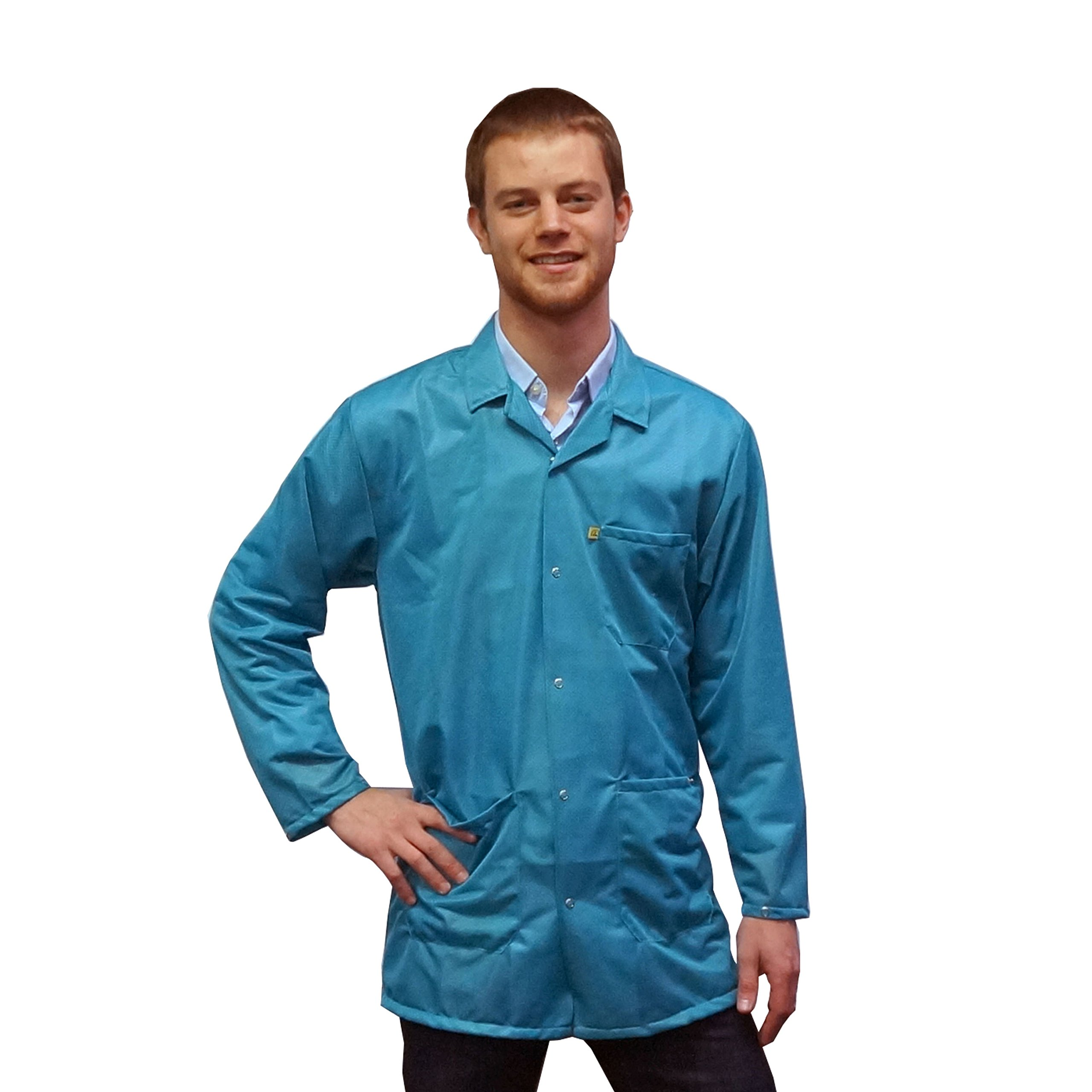StaticTek Full Sleeve Snap Cuff ESD Jacket | Anti-Static Lab Coat | Certified Level 3 Static Shielding | Light Weight | ESD Smocks with High ESD Protection | Medium | Teal | TT_JKC9023SPTL