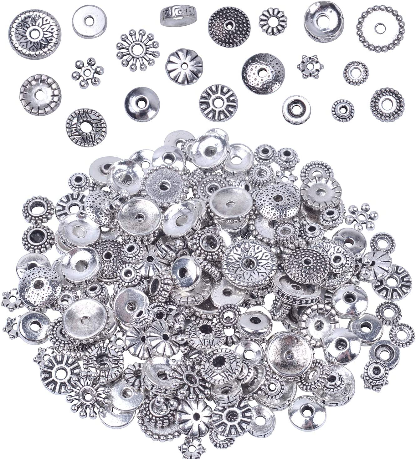 20//50Pcs Metal Round Loose Spacer Tube Silver Bead Finding Jewelry 5//6//8mm DIY