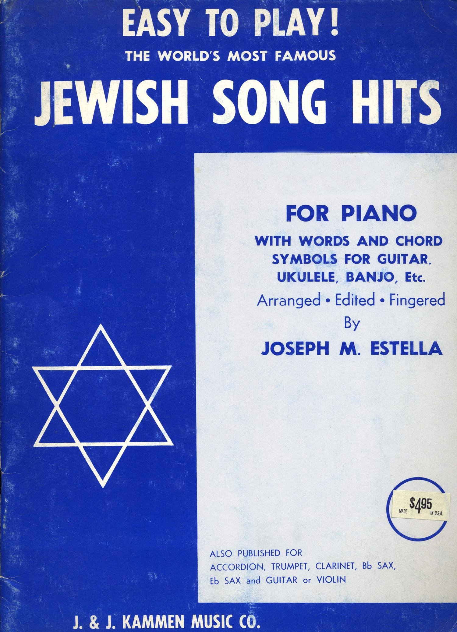 Easy To Play The Worlds Most Famous Jewish Song Hits For Piano