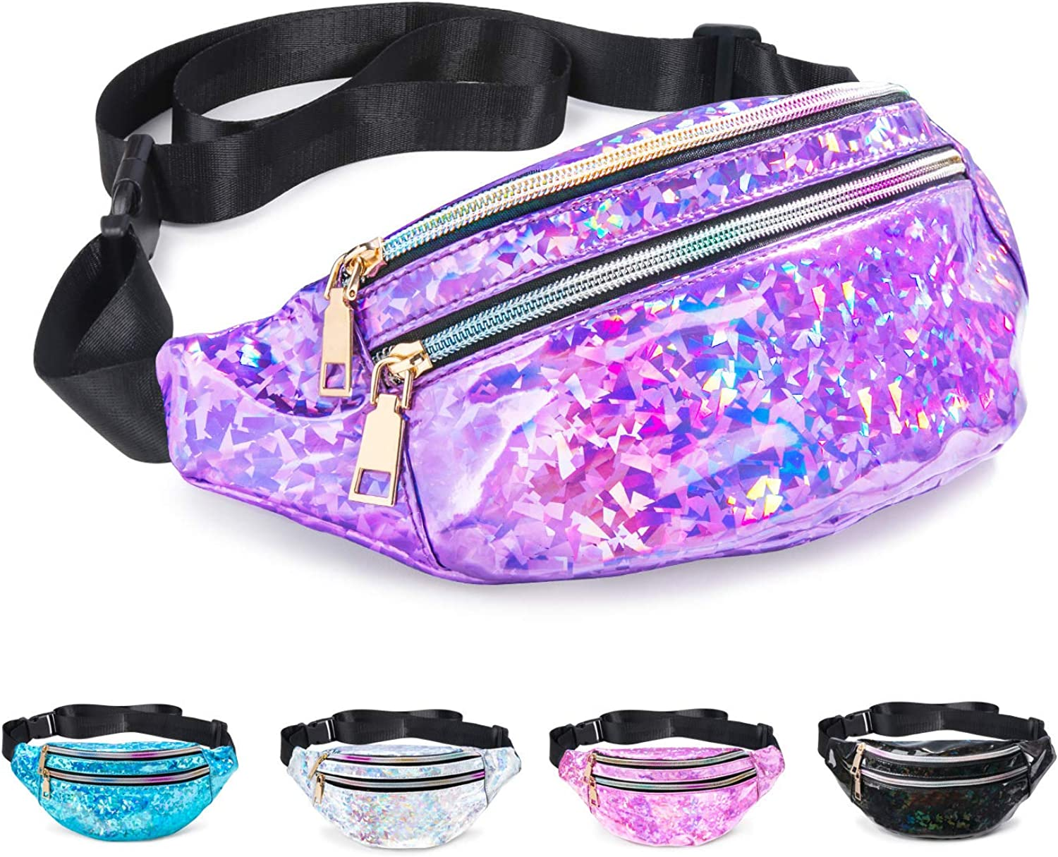 Extra Small fancy fanny pack XS Purple ultrasuede tapestry pocket belt with mermaid chain