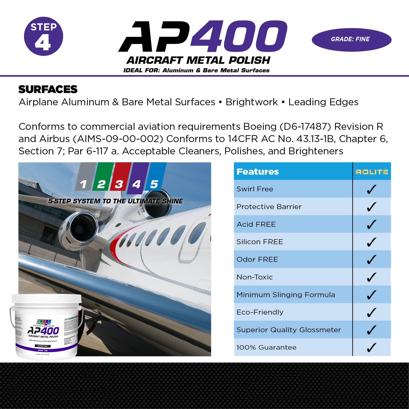 AP400 Aircraft Metal Polish (10lb) - Fine - for Airplane Aluminum & Bare Metal Surfaces, Brightwork, Meets Boeing & Airbus Requirements by Rolite (Image #4)