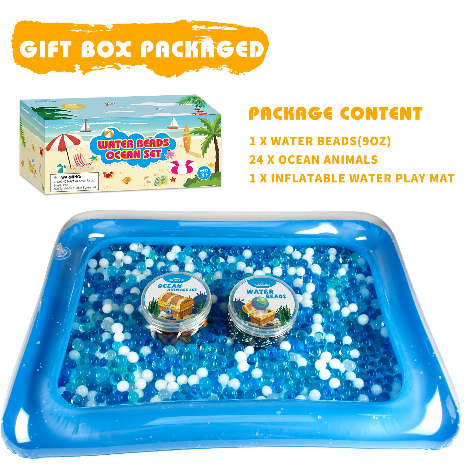 MONILON Water Beads Pool and Decor-Inflatable Water Mat Include Water Gel Soft Beads Growing Jelly Balls for Spa Refill 24 Pcs Ocean Sea Animals Tactile Sensory Play Kids Toys for Boys Girls