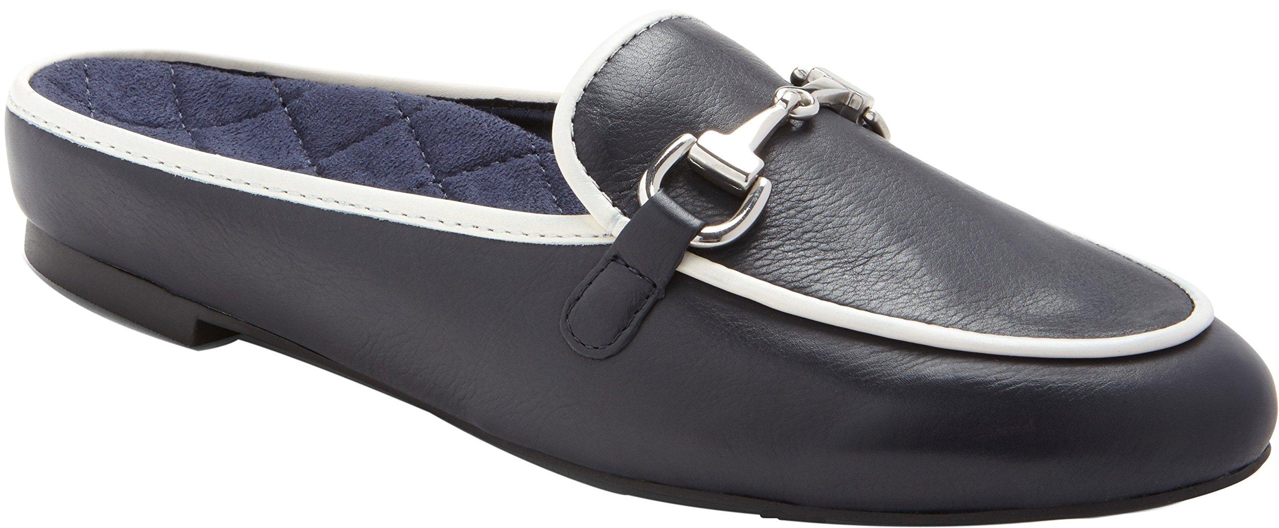 Vionic Womens Snug Adeline Mule, Navy/White, Size 9