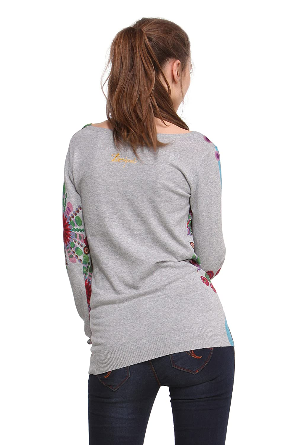 Desigual Womens Woman Long-Sleeve Versalle Pullover, Gray, Large at Amazon Womens Clothing store: