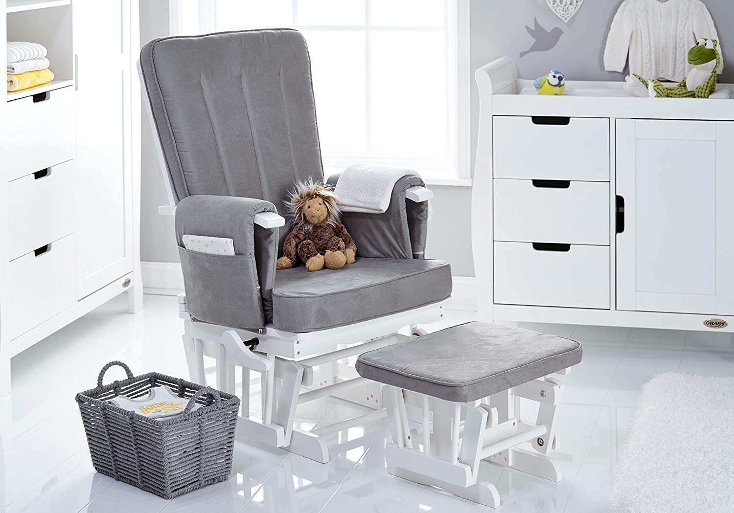 Obaby 7 Position Deluxe Reclining Glider Nursing Chair Stool