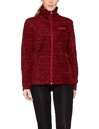 Columbia Fast Trek Hooded Jacket Chaqueta Polar, Mujer, Rojo, Talla L